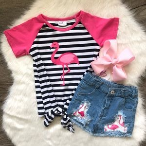 Other - Girl Boutique Flamingo Denim Outfit Set